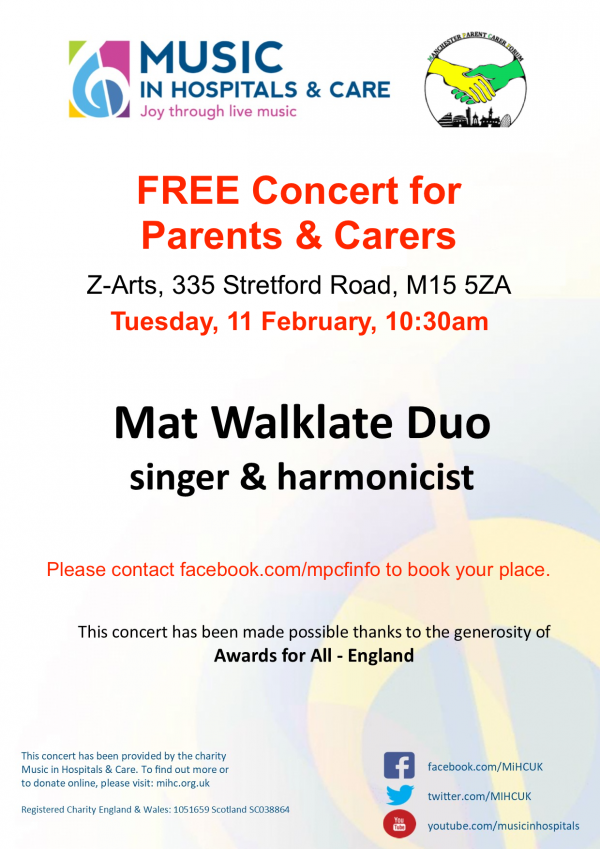 "Details of the Feb 2020 ""Concert for Carers"" from MiHC and MPCF"