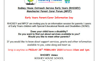 Details of the Parent/Carer Drop-in session organised by RHOSEY and MPCF, including logos of Rodney House School, RHOSEY and MPCF