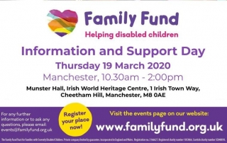 Cropped version of the poster for Family Fund Information & Support Day in Manchester for 2020