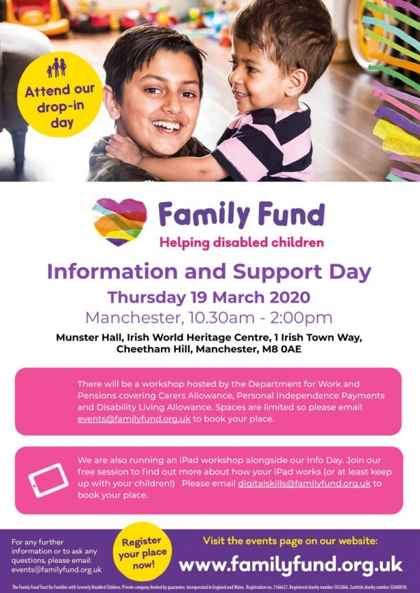Details of the Family Fund Information & Support Day in Manchester for 2020