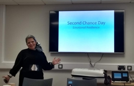 Geraldine Hills of Inclusive Choice Consultancy posing at the start of the Emotional Resilience workshop in December 2019