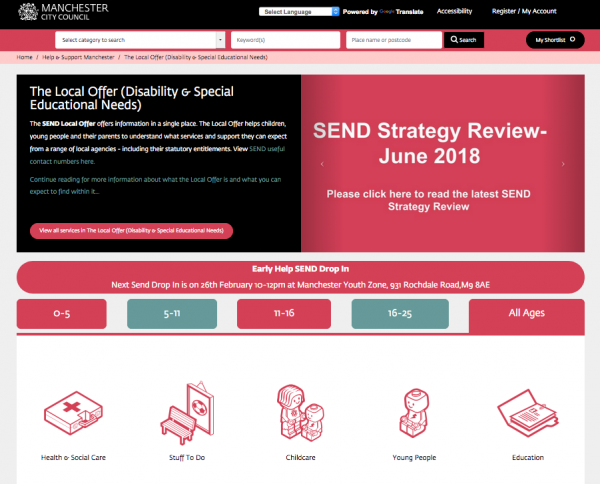 Screenshot of the Manchester SEND Local Offer website, as of 2 Feb 2020