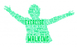 a word cloud showing what parents do to keep physically well; the word cloud is in the shape of a person with arms spread wide