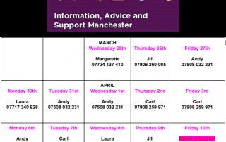 Image shows a calendar of IAS Manchester's work hours between March 25 through April 13 2020, plus IASM's logo