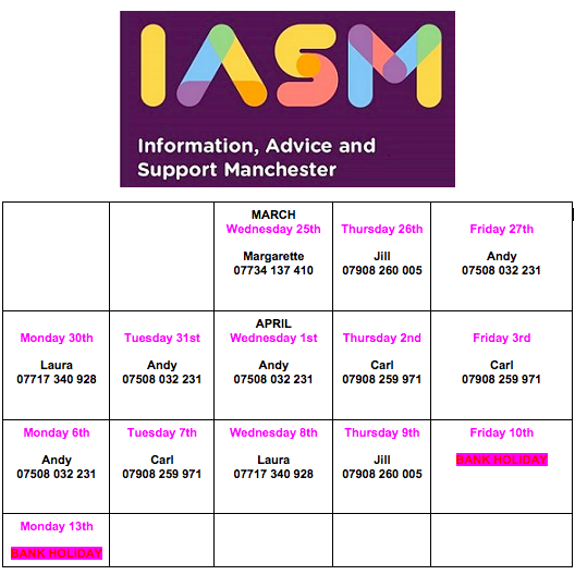 Image shows a calendar of IAS Manchester's work hours between March 25 through April 13 2020, plus IASM's logo