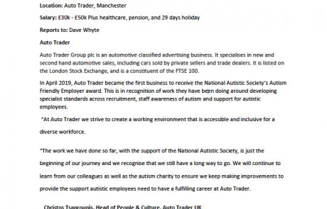 Page 1 of the AutoTrader JD Operations Engineer internship job advert
