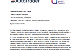 Cropped version of the AutoTrader JD Operations Engineer internship job advert
