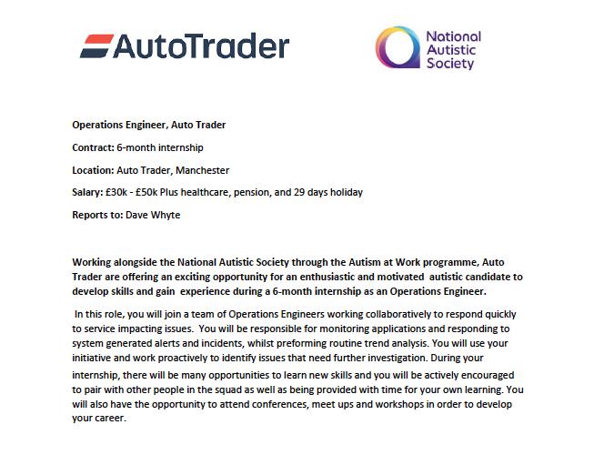 Cropped version of the AutoTrader JD Operations Engineer internship job advert