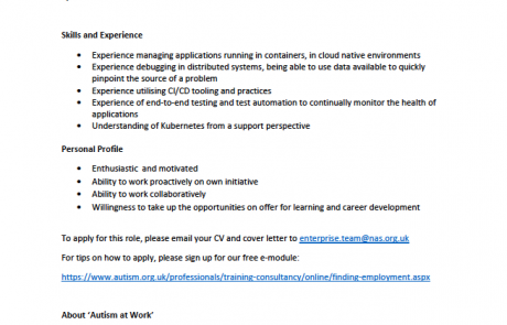 Page 2 of the AutoTrader JD Operations Engineer internship job advert