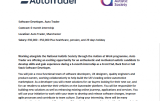 Cropped version of the AutoTrader Software Developer internship job advert