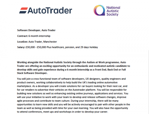 "Auto Trader Internship Roles – ""Autism at Work"""