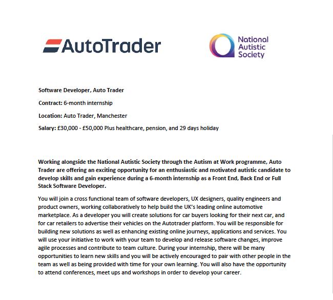 Cropped version of the AutoTrader Software Developer internship job advert