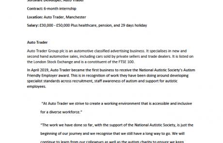 Page 1 of the AutoTrader Software Developer internship job advert