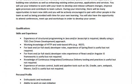 Page 2 of the AutoTrader Software Developer internship job advert