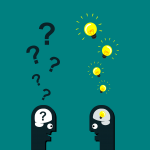 illustration of two people chatting - one has question marks on top of head, the other has light bulbs | photo credit: jambulboy on pexels.com