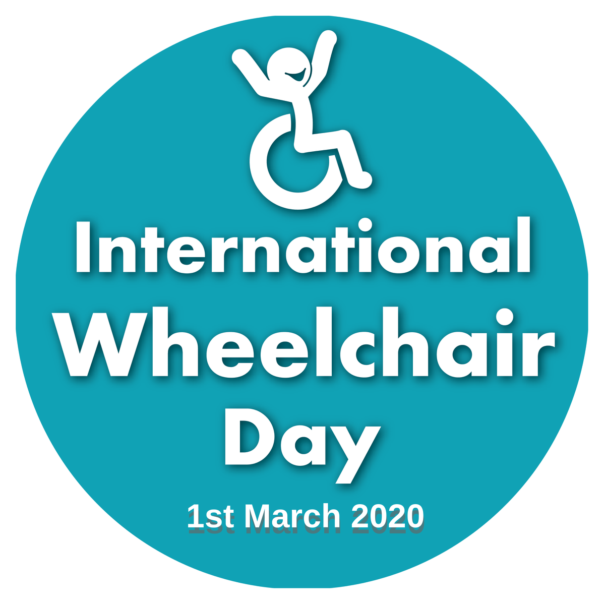 Image is the logo for Internation Wheelchair Day 2020, which is a blue cirlce with a cheerful stickman in a wheelchair raising its arms in the air