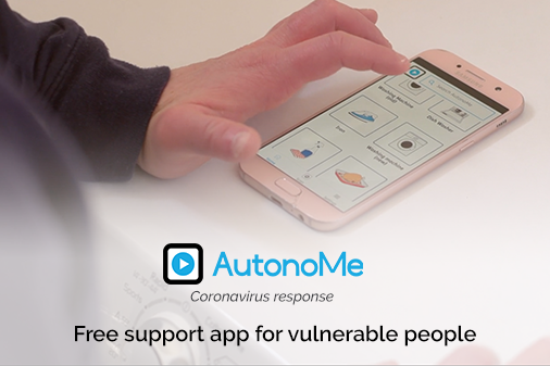 a hand touching a smartphone running the AutonoMe app | image credit: www.autono.me.uk