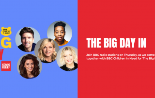 Promotional material for The Big Day In 2020, as seen on Comic Relief's website, showing various radio personalities from the BBC