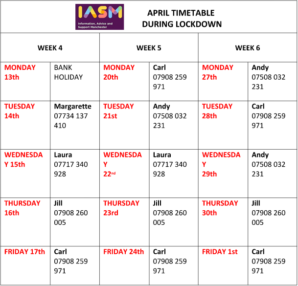Image shows a calendar of IAS Manchester's work hours for April 2020, plus IASM's logo