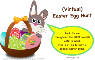 illustration of a basket containing Easter eggs, with a bunny behind it; the bunny talks about MPCF's Easter Egg Hunt | photo credit: OpenClipart-Vectors via Pixabay.com