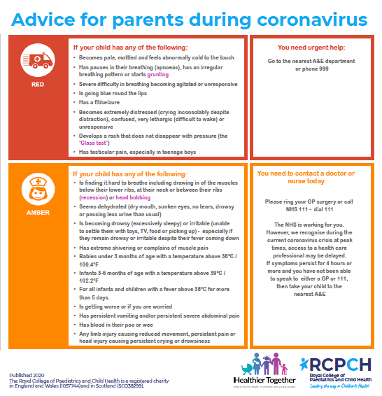 red and amber features to watch when your child is ill during the coronavirus crisis | photo credit: Healthier Together, RCPCH