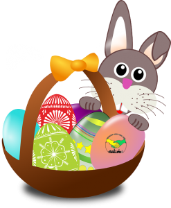 illustration of a basket containing Easter eggs, with a bunny behind it | photo credit: OpenClipart-Vectors via Pixabay.com