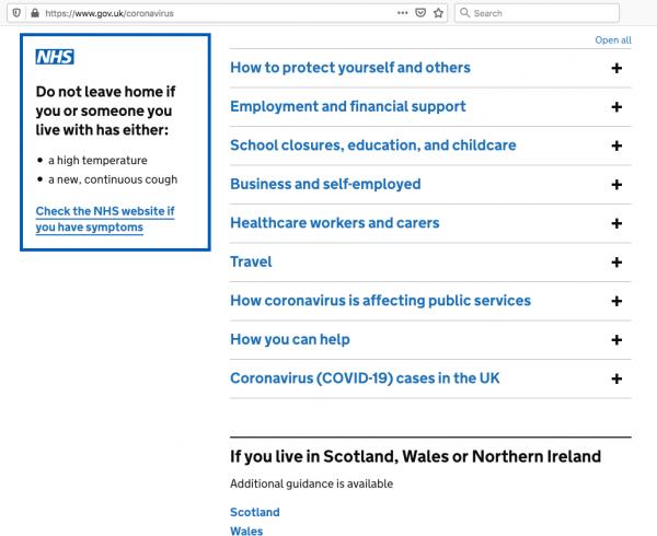 Screenshot of https://www.gov.uk/coronavirus as of 10 April 2020