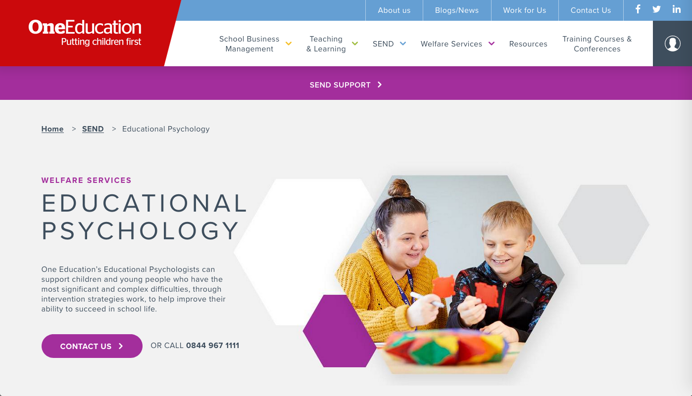 screenshot of https://www.oneeducation.co.uk/send/educational-psychology taken on 17 April 2020