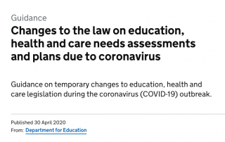 Screenshot of the webpage about the government guidance on temporary changes to the law on EHCPs, taken on the 1st of May 12:45pm