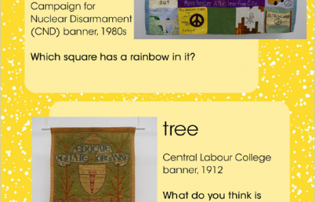 """Screenshot of page 6 of People's History Museum's """"I Spy ... Nature"""" resource, showing banners inspired by a bird and a tree"""
