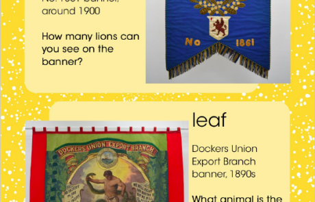 """Screenshot of page 4 of People's History Museum's """"I Spy ... Nature"""" resource, showing banners inspired by a flower and a leaf"""
