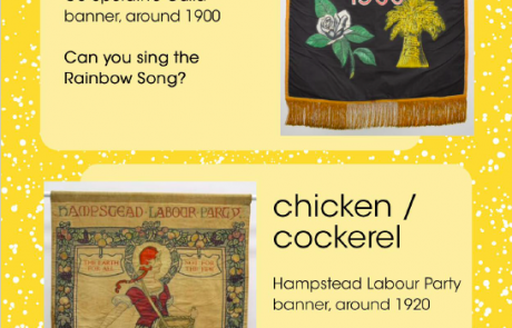 """Screenshot of page 8 of People's History Museum's """"I Spy ... Nature"""" resource, showing banners inspired by a rainbow and a chicken/cockerel"""