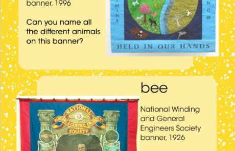 """Screenshot of page 9 of People's History Museum's """"I Spy ... Nature"""" resource, showing banners inspired by water and a bee"""