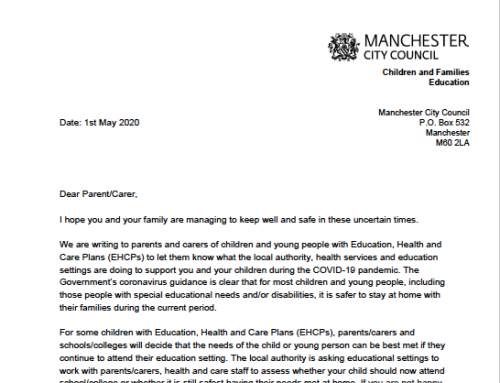 Manchester City Council's Letter to Parents of Children with EHCP