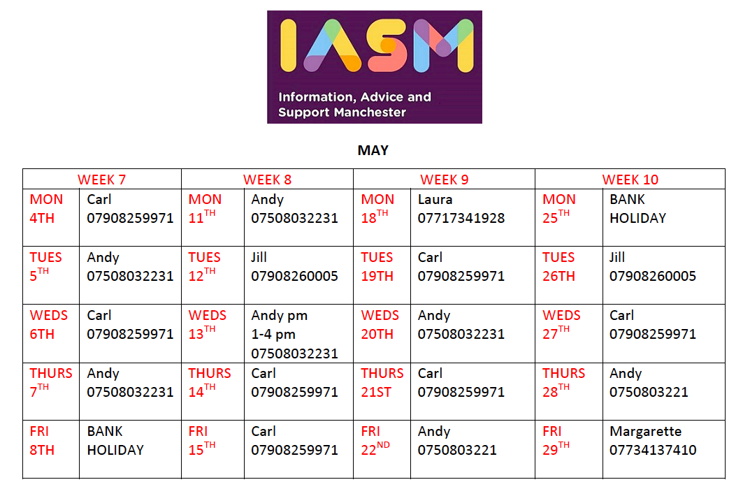 Image shows a calendar of IAS Manchester's work hours for May 2020, plus IASM's logo