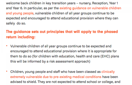 "Screenshot of the CDC's ""The Department for Education has published new guidance on phased returns to schools, colleges and nurseries"" news article"