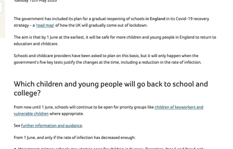 "screenshot of Contact's ""When will schools reopen in England?"" news article"