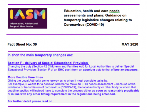IASM Guidance on Temporary Legislative Changes to EHC Needs Assessments and Plans