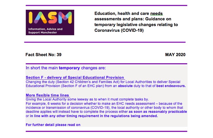 "Screenshot of ""Factsheet 39 Education, health and care plans and assessments Temporary legislative changes"", an Information, Advice and Support Manchester document"