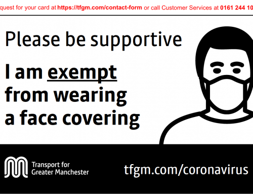TfGM Travel Guidance and Face Covering Exemption Card
