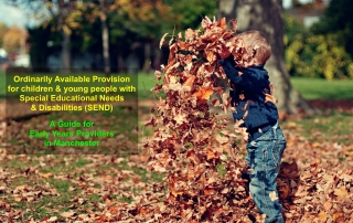 "a young boy playing with dried leaves, with the text ""Ordinarily Available Provision for children and young people with Special Educational Needs and Disabilities (SEND) A Guide for Early Years Providers in Manchester"" superimposed on the foreground 