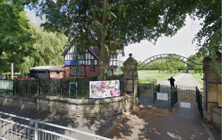 Screenshot of the entrance to Crumpsall Park (near the visitors centre), as taken from Google Street View