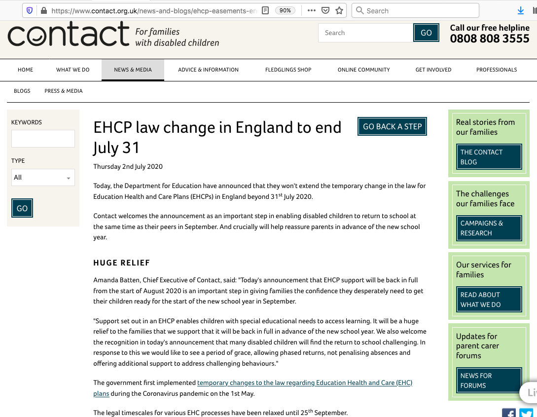"Screenshot of the ""EHCP Law Change in England to end July 31"" article on Contact's website"