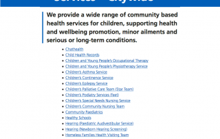 Cropped and edited screenshots of the Children's Community Services page on the MFT website, listing the different services covered
