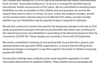 Screenshot of the Temporary Changes to SEND Legislation section of the DfE Guidance on full opening of specialist schools and settings