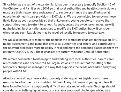 """Reasonable Endeavours"" EHCP Law Change to End July 31"