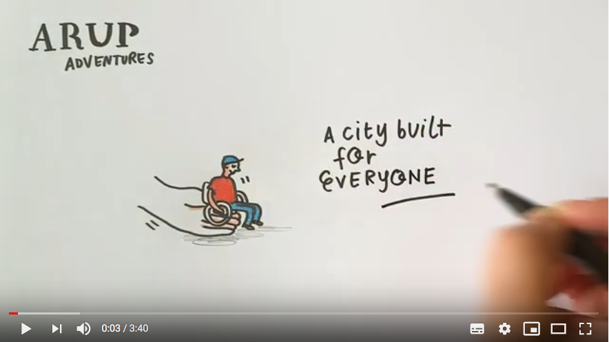 "A hand, a boy sitting on a wheelchair and the words ""A city built for everyone"" 