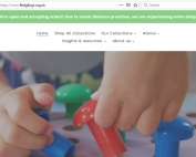 Screenshot of the Fledglings website as of 17 October 2020, showing the website navigation plus a photo of a child playing with sensory toys | source: www.fledglings.org.uk