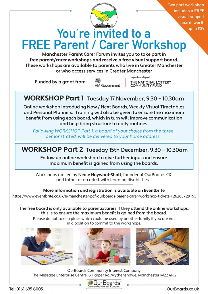 The flyer shows details of the two-part workshop from OurBoards CIC, which is offered to MPCF members.