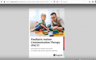 Screenshot of the Paediatric Autism Communication Therapy (PACT) flyer, as displayed on issuu.com